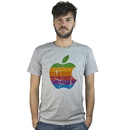 T-Shirt mela vintage Apple, maglietta grigia con logo ad effetto rovinato