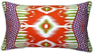 Pillow Decor - Electric Ikat Orange 15x27 Throw Pillow