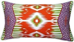 Pillow Decor - Electric Ikat Orange 15x27 Throw Pillow