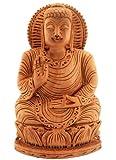 Wooden Hand Carved Meditation Buddha Religious Statue Elegant Spiritual Gift for Good Luck Birthday or Housewarming Gift Ideas for Men & Women