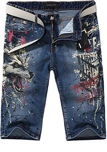 Jeansian Moda Pantaloni Casual Uomo Stampato Jeans Uomini Shorts in Denim MJB032 Blue W31