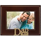 Malden I Heart Brass Word Dad Picture Frame, 4-Inch by 6-Inch