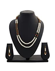 Nisa Pearls Traditional Pearls Necklace Set Adorned With CZ And Green And Red Color Stones - B00S1H47KI