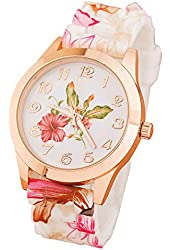 Orangesky Women Girl Watch Silicone Printed Flower Causal Quartz WristWatches