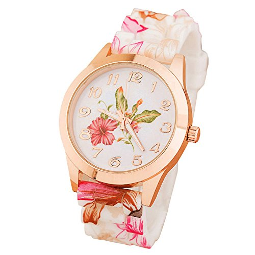 Suppion Women Silicone Printed Flower Causal Quartz Wrist Watches Pink image