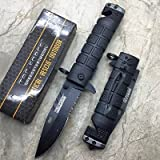 Tac-Force spring Assisted Open Black Bayonet Style Tactical Rescue Pocket Knife