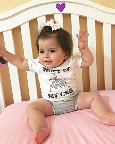 """Fayebeline Boutique Quality Baby Onesie """"Party At My Crib"""" Funny Baby Gift, White, 0-6M"""