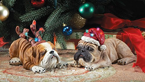 Set Of 2 Snoozing Christmas Dog Sculptures