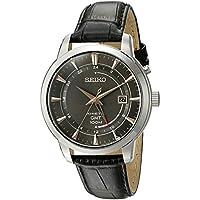 Seiko Mens Black Leather Strap Kinetic GMT Watch (SUN063)