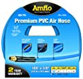 """Amflo 554-100A Blue 300 PSI Premium PVC Air Hose 3/8"""" x 100' With 1/4"""" MNPT End Fittings And Bend Restrictors by Amflo"""
