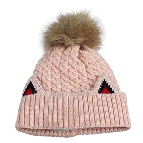 Iuhan Women Winter Crochet Hat Fur Wool Knit Beanie Raccoon Warm Cap (Pink) (Zulu Zephyr compare prices)