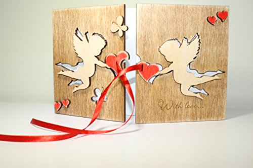 HANDMADE Sustainable REAL WOOD Card LARGE Size ORIGINAL 5 th