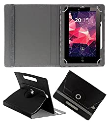 Acm Rotating 360° Leather Flip Case For Zebronics Zebpad 7t500 Tablet Cover Stand Black