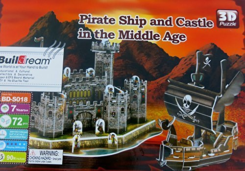 Pirate Ship and Castle in the Middle Age