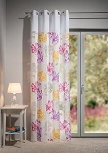 gardine senschal 140 x 245cm halbtransparent wei bunt blumen gemustert cm ansatz. Black Bedroom Furniture Sets. Home Design Ideas