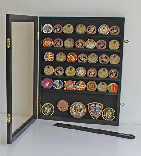 Challenge Coin Display Case Cabinet Rack Shadow Box Solid wood ...