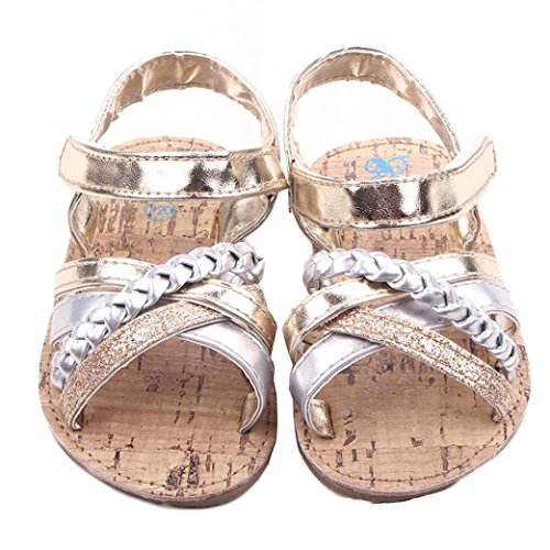 Voberry® Baby Infant Girls Summer Prewalker Bronze Anti-Slip Crib Flat Sandals (6~12 Month, Gold)