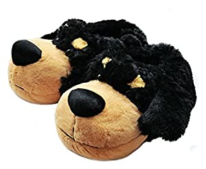 Onmygogo Fuzzy Animal Rottweiler Dog Slippers for Men, Soft and Warm Plush