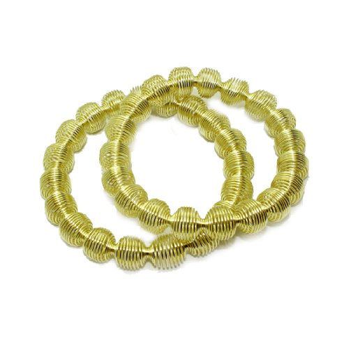 2 PIECE SET: Womens Metal Wire Stretchy Bangle / Bracelet Set