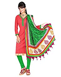 Indian Designer Bollywood Casual Wear Bhagalpuri Silk Red Un Stitched Branded Salwar Suit Dress Material for women girls ladies From Lookslady
