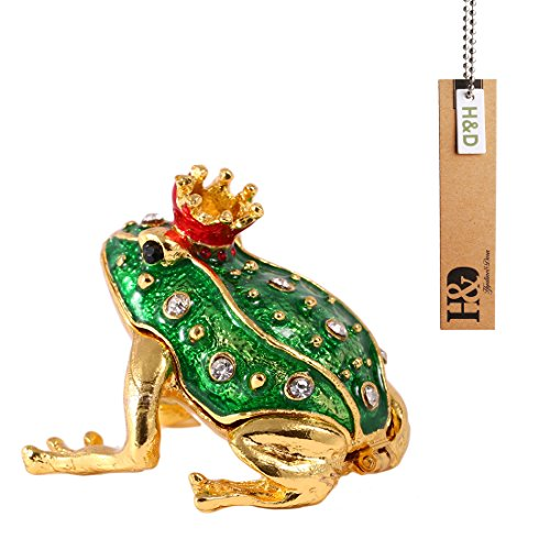 H&D Crystal Small Frog Animal Figurine Collectible Trinket Box Ring Holder (Frog Crystal compare prices)