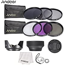 Alcoa Prime Andoer 67mm Lens Filter Kit UV+CPL+FLD+ND(ND2 ND4 ND8) With Carry Pouch Lens Cap Holder Tulip & Rubber...