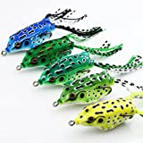 VERY100 Lot 5Pcs Soft Frog Topwater Fishing Lure Crankbait Hooks Bass Bait Tackle 5.5cm 8g