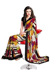 Faux Georgette Saree In Multicolor Colour For Casual Wear Wear - B00V6G5DPE