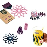 iHappy Silicone Multi-purpose Flower Collapsible Mug Coasters Color Random