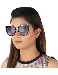 Aislin Premium Cat Eye Sunglasses For Women (Grey Lens Black Frame)(Size : 56 Mm)(AS-7873-17-LGRY407)