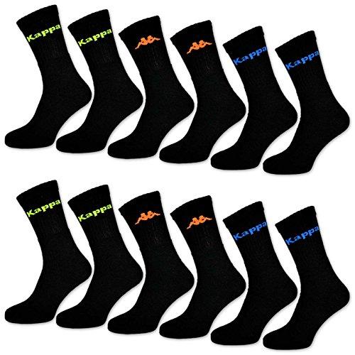 6-oder-12-paar-kappa-sportsocken-tennissocken-arbeitssocken-herrensocken-baumwolle-schwarz-neon-schw
