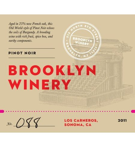 2011 Brooklyn Winery Los Carneros Pinot Noir 750 Ml