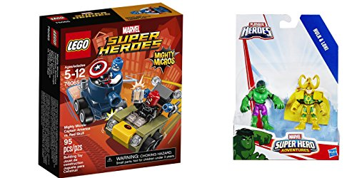 LEGO Super Heroes Mighty Micros: Captain America vs. Red S 95 Pcs & free Gifts Super Hero Adventures Hulk and Loki (Colors may vary) Toys