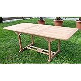 TEAK XXL Ausziehtisch Holztisch Gartentisch Garten Tisch 150 / 200 Länge 90cm Breite, Holz geölt Modell: SABA...