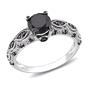 Exquisite Black Diamond Antique Wedding Ring 1 Carat Round Cut Diamond on 10K White Gold