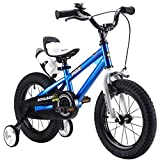 RoyalBaby BMX Freestyle Kids Bike, Boys Bikes and Girls Bikes with training wheels, Gifts for children, 14 inch wheels, Blue