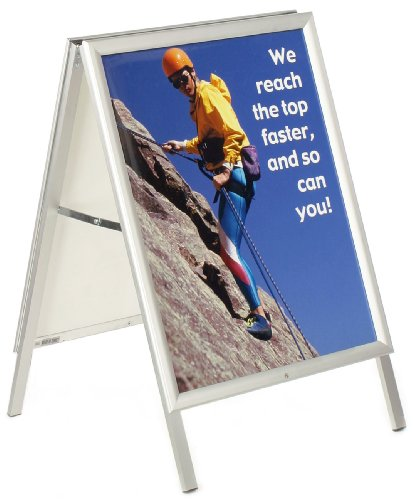 Displays2go Aluminum A-Frame Sign with Snap-Open Edging, Holds 22 x 28 Inches Graphics, Double-Sided - Silver (AFS2228)