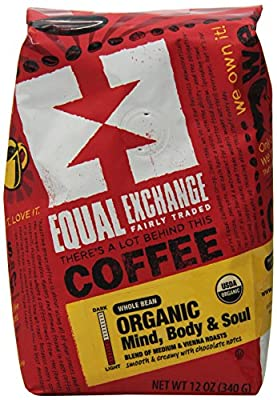 Equal Exchange Organic Coffee, Mind Body Soul, Whole Bean, 12 Ounce Bag