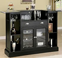Hot Sale Bar Unit with Wine Rack and Stemware Rack in Black Finish