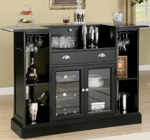 Bar Unit With Wine Rack And Stemware Rack In Black Finish front-495438