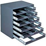 """Durham 308-95 Gray Cold Rolled Steel Easy Glide Slide Rack for 6 Small Metal Compartment Boxes, 15-1/4"""" Width x 16-3/8"""" Height x 11-3/4"""" Depth"""