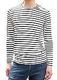 MATTHEW BROWNEE ボーダー Tシャツ 長袖 薄手 カットソー メンズ レディース ロンT (日本サイズL(XL) ホワイト)
