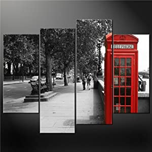 4 panel black white and red phone booth london wall art for Home decorations london