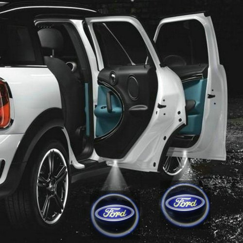 2 X Black 5Th Gen Car Door Shadow Laser Projector Logo Led Light For Ford All Series F150 F250 F350 B-Max C-Max S-Max Grand C-Max Fg Falcon Ranger G-Series Fiesta Figo Fusion Mondeo Focus Taurus Transit Connect Explorer Edge Expedition Gt