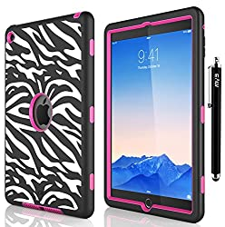 iPad Air 2 Case, E LV iPad Air 2 Case Cover - Dual Layer Hybrid Armor Defender Protective Case Cover for Apple iPad Air 2 with 1 Stylus and 1 Screen Protector - ZEBRA HOT PINK