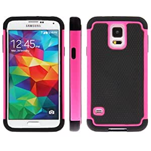 Honeycomb Texture Plastic + Silicone Combination Case for Samsung Galaxy S5 G900 in Magenta