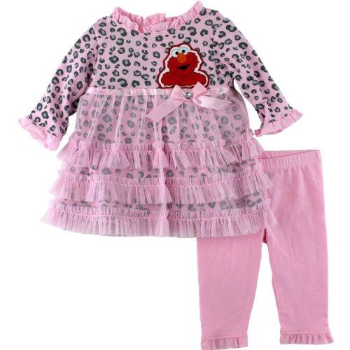 Sesame Street Baby-Girls Newborn 2 Piece Woven Dress And Pant, Pink, 3-6 Months