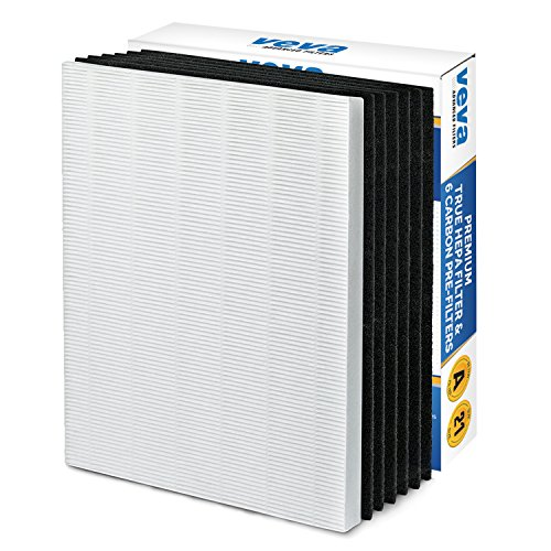 Premium True HEPA Filter with 6 Activated Carbon Pre Filters compatible with Winix 115115 Size 21 and with PlasmaWave P300, 5300, 5500, 6300 & Fellowes Aeramax 290, 300, DX95 by VEVA Advanced Fitlers