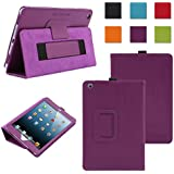 TKOOFN Premium Leather Cover Nubuck Fibre Interior, Folio Case & Stand with Elastic Hand Strap for Apple iPad Mini (1st Gen) + Screen Protector + Cleaning Cloth + Stylus, Purple - BHK6405
