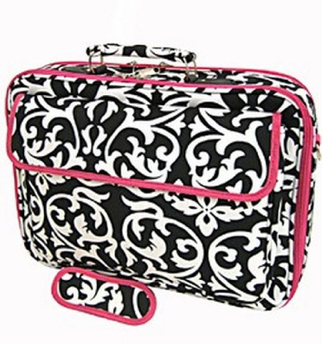 Damask and Hot Pink Laptop Case Bag 17